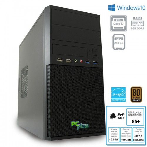 Računalnik PCPLUS e-office i7-7700 8GB 240GB SSD Windows 10 Pro